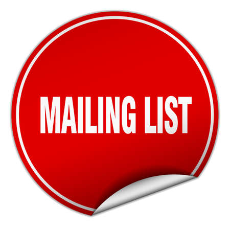 mailing: mailing list round red sticker isolated on white