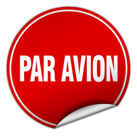 par: par avion round red sticker isolated on white