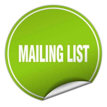 mailing: mailing list round green sticker isolated on white Illustration
