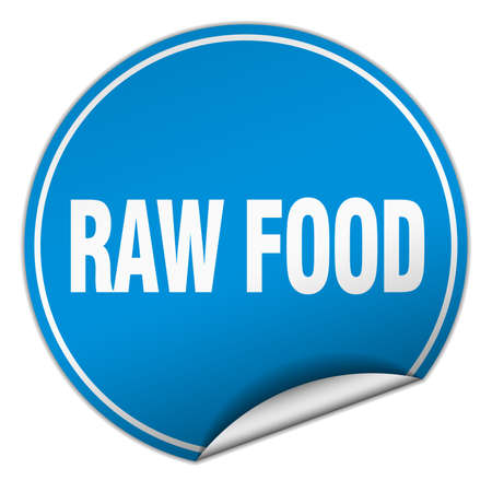 raw food: raw food round blue sticker isolated on white