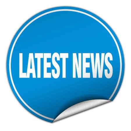 latest news: latest news round blue sticker isolated on white