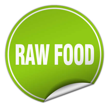 raw food: raw food round green sticker isolated on white