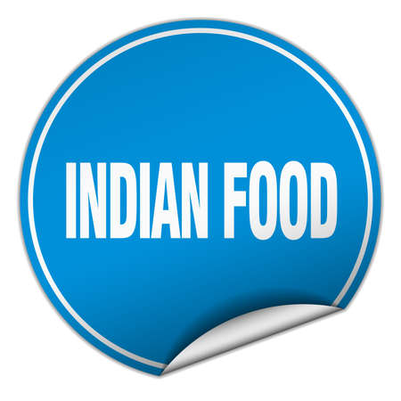 indian food: indian food round blue sticker isolated on white