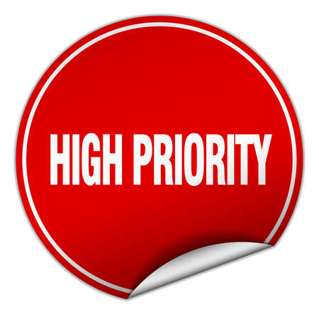 priority: high priority round red sticker isolated on white