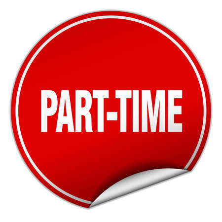 part time: part-time round red sticker isolated on white Illustration
