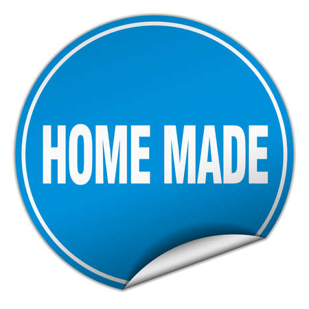 home made: home made round blue sticker isolated on white