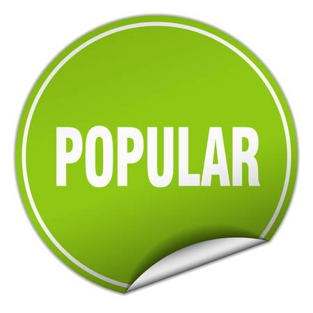 popular: popular round green sticker isolated on white