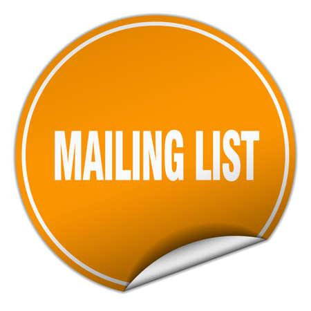mailing: mailing list round orange sticker isolated on white