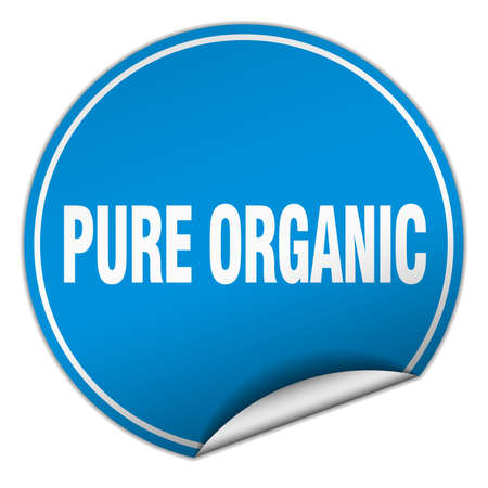 pure: pure organic round blue sticker isolated on white