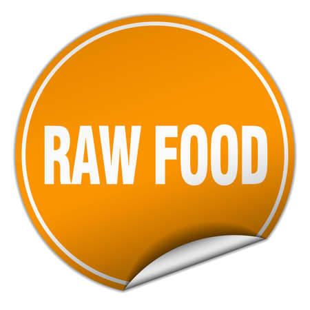 raw food: raw food round orange sticker isolated on white