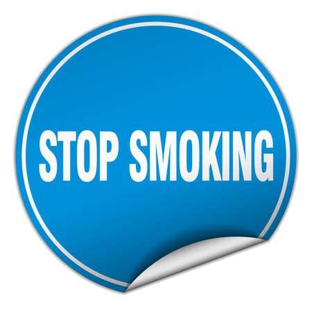 stop smoking: stop smoking round blue sticker isolated on white