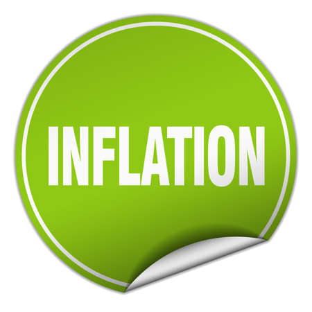 inflation: inflation round green sticker isolated on white