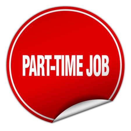 part time: part-time job round red sticker isolated on white