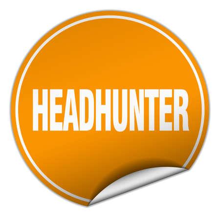 headhunter: headhunter round orange sticker isolated on white