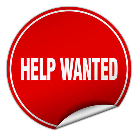 help wanted: help wanted round red sticker isolated on white