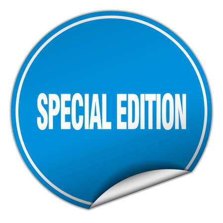 special edition: special edition round blue sticker isolated on white Illustration