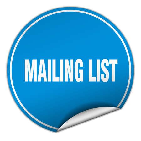 mailing: mailing list round blue sticker isolated on white Illustration
