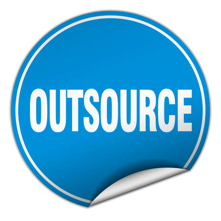 outsource: outsource round blue sticker isolated on white Illustration