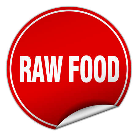 raw food: raw food round red sticker isolated on white