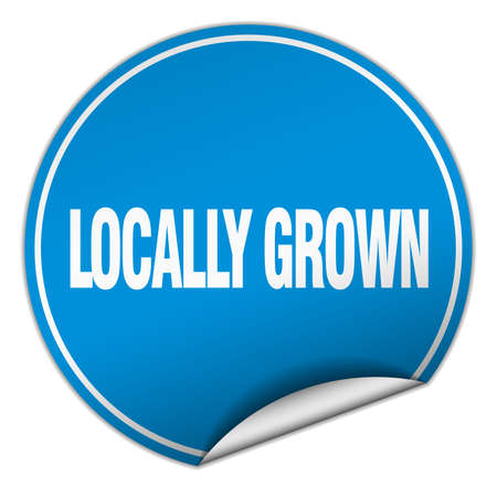 locally: locally grown round blue sticker isolated on white
