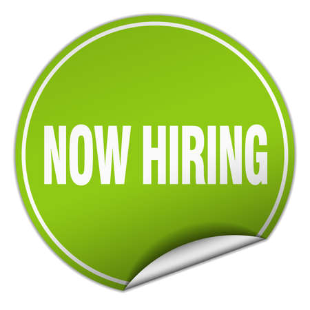 now hiring: now hiring round green sticker isolated on white