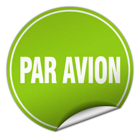 par: par avion round green sticker isolated on white
