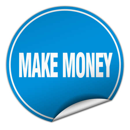 make money: make money round blue sticker isolated on white Illustration