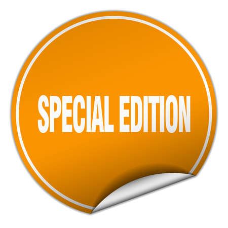 special edition: special edition round orange sticker isolated on white Illustration
