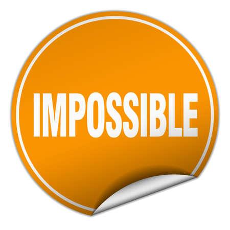 impossible: impossible round orange sticker isolated on white Illustration