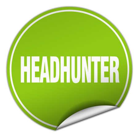 headhunter: headhunter round green sticker isolated on white