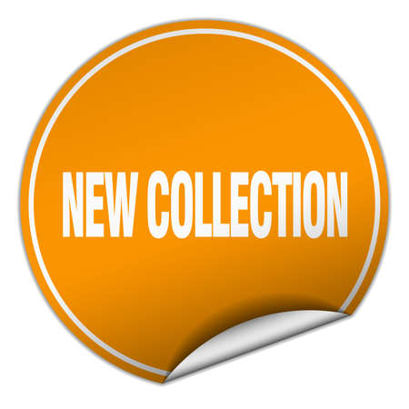 new collection: new collection round orange sticker isolated on white