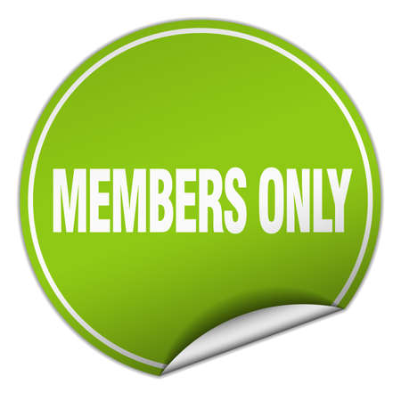 only: members only round green sticker isolated on white