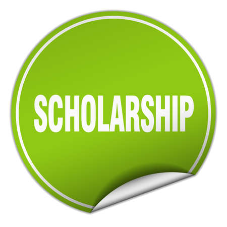 scholarship: scholarship round green sticker isolated on white