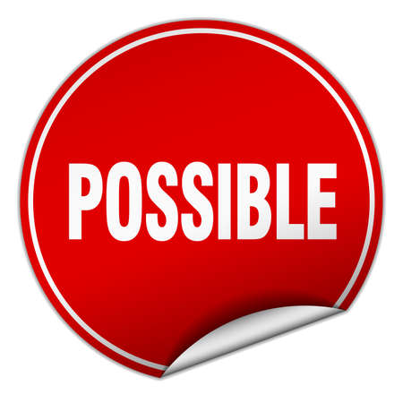 possible: possible round red sticker isolated on white