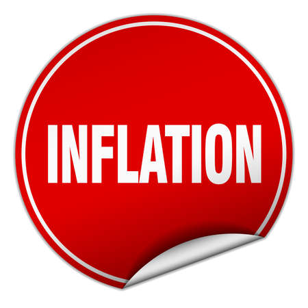 inflation: inflation round red sticker isolated on white Illustration