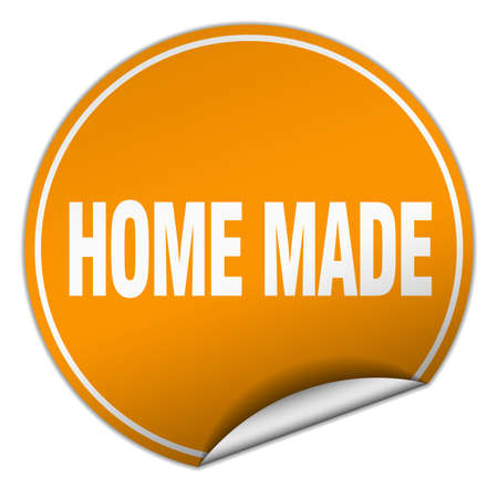 home made: home made round orange sticker isolated on white