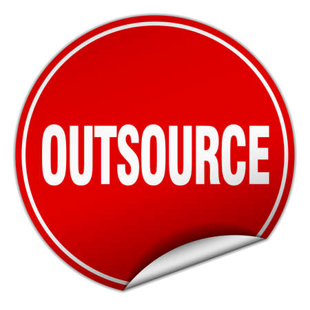 outsource: outsource round red sticker isolated on white Illustration