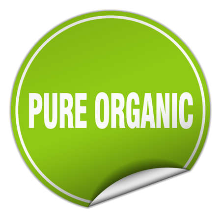 pure: pure organic round green sticker isolated on white