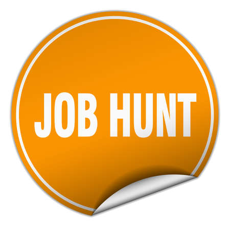 job hunt: job hunt round orange sticker isolated on white