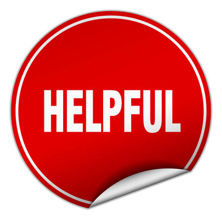 helpful: helpful round red sticker isolated on white