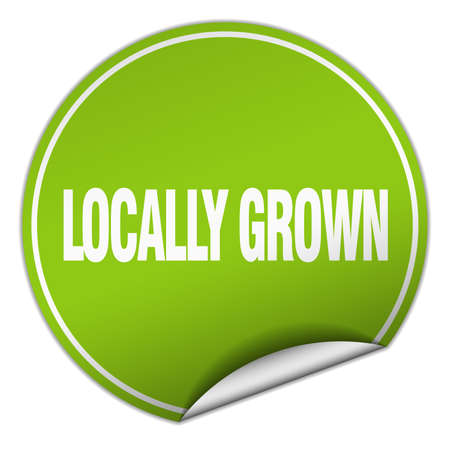 locally: locally grown round green sticker isolated on white