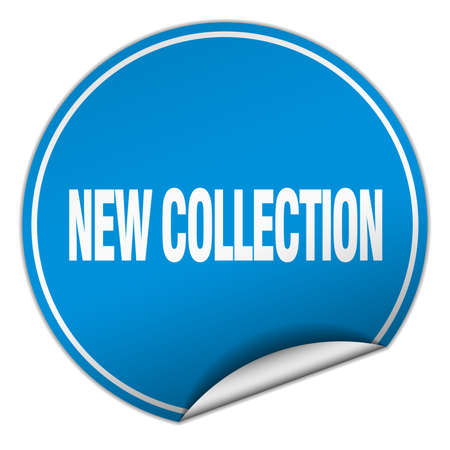 new collection: new collection round blue sticker isolated on white