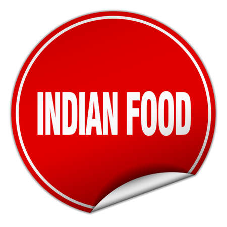 comida hindu: indian food round red sticker isolated on white Vectores