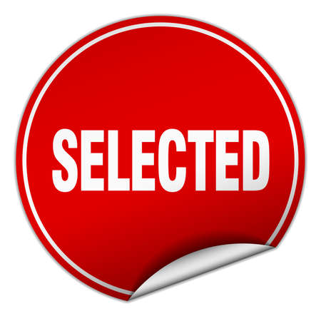 selected: selected round red sticker isolated on white