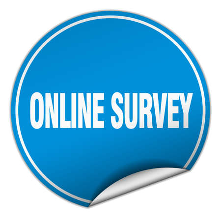 online survey: online survey round blue sticker isolated on white