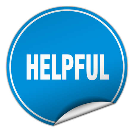 helpful: helpful round blue sticker isolated on white