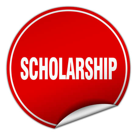 scholarship: scholarship round red sticker isolated on white Illustration