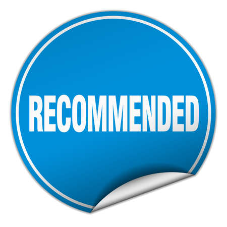 recommended: recommended round blue sticker isolated on white Illustration