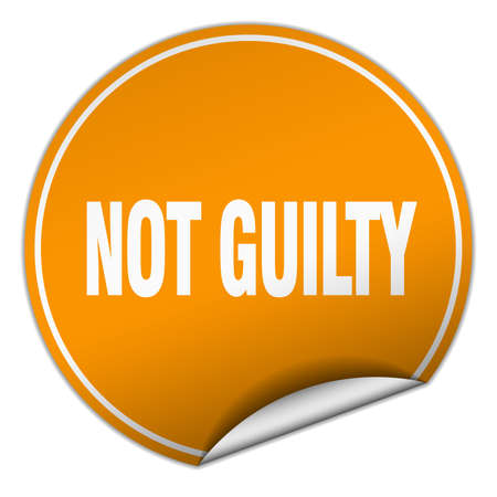 guilty: not guilty round orange sticker isolated on white