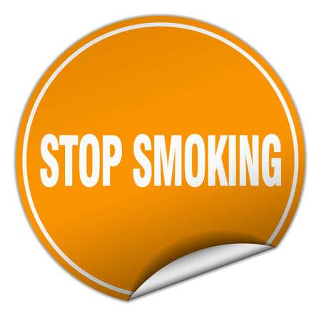 stop smoking: stop smoking round orange sticker isolated on white